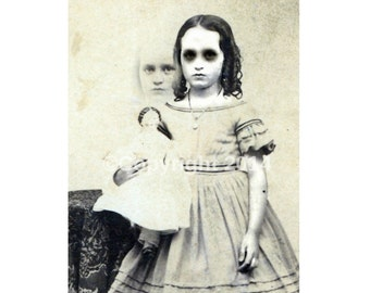 Printable Child Photo Ghost Vintage Victorian Vintage Altered Art Halloween Creepy Girl Instant Download Ephemera Scrapbook Card Supply
