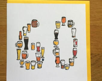 60th sixtieth sixty birthday card men /male drinking card beer