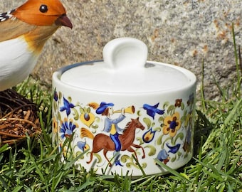 Vintage Villeroy & Boch Troubadour Sugar Bowl with Lid - Minstrels Horses Birds Flowers Luxembourg Retired Signed Compare at 40.00 USD