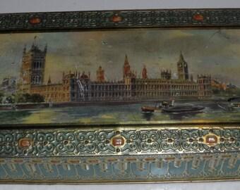 McVitie & Price Rare Vintage Tin Depicting Westiminter and Big Ben London Thames