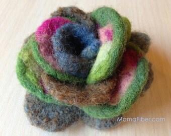 Woollen felted rose brooch - a flower pin in green-brown-pink-blue