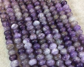 "5mm x 8mm Natural Amethyst Smooth Finish Rondelle Shaped Beads with 2.5mm Holes - 7.75"" Strand (Approx. 36 Beads) - LARGE HOLE BEADS"
