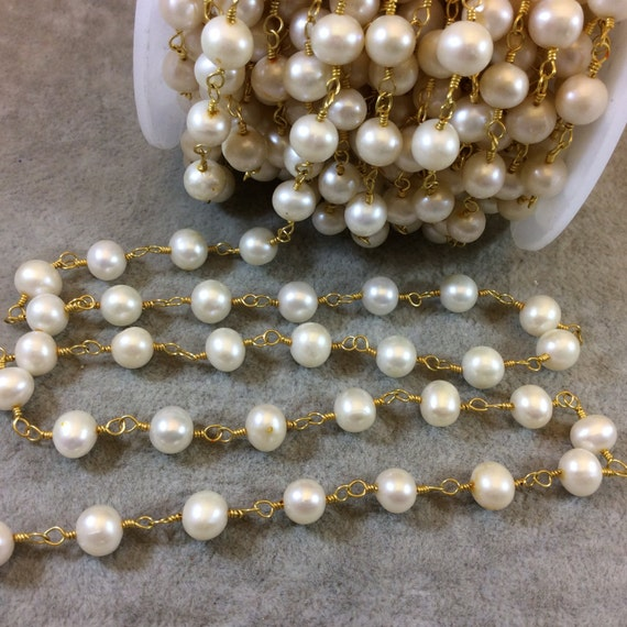 Gold Plated Copper Rosary Chain With 7mm Smooth Round