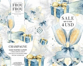 New Year Clipart Champagne Clip Art Watercolor Christmas Graphics Handpainted Illustration Gift Box Snow Blue Christmas Xmas Planner Sale
