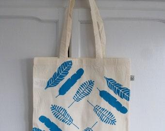 Blue leaves hand screen printed tote bag