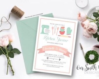 Kitchen Shower Invitation DIY PRINTABLE Customizable Digital Prints Bridal Shower