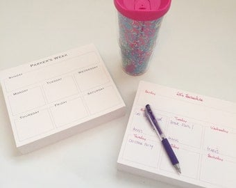 Personalized Weekly Slab Notepad