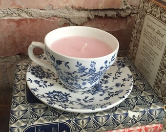 Blue & White Floral Tea Cup with Light Pink Recycled Wax Candle