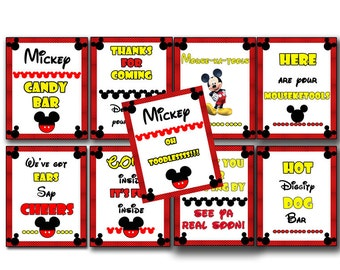 mickey mouse birthday sign - INSTANT DOWNLOAD - 8x10 inches come inside it's fun inside / we've got ears say cheers / hot diggity dog bar