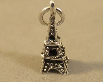 Sterling Silver 3-D Tiny EIFFEL TOWER Charm Pendant Paris France Europe Small Little Landmark Travel .925 Sterling Silver New tr90