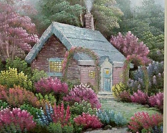 Painting of Cottage Garden/ Framed Original Painting/ c1940/Colorful