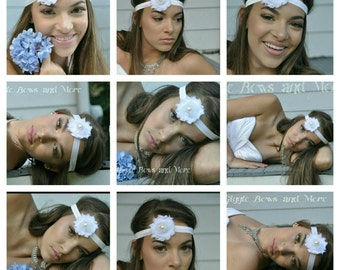 bridal hair piece - bridal hair accessory - floral wedding hair piece - bridal headband - white wedding hair piece - white wedding headband