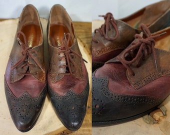 Vtg Genuine Leather Oxford Lace Up Shoes Loafer Multi-tone Patchwork || Finesse || Womens 8.5