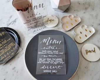 White Lettering Perspex Clear Sign Custom Hand Drawn / Acrylic Menu Signs / Modern Calligraphy / Party Wedding Birthday / 14cm x 20.5cm