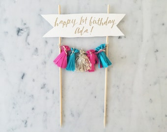 Cake Topper / Gold Calligraphy / Custom Hand Lettered/ Fuchsia Pink Turquoise Blue / Made-To-Order/ Hand Made Mini Tassels / Baby Girl /