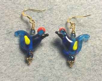 Translucent bright blue red crested lampwork songbird bead dangle earrings adorned with bright blue Czech glass beads.