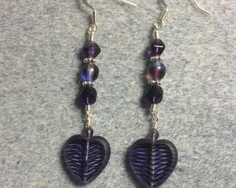 Dark purple striped Czech glass heart bead dangle earrings adorned with dark purple Czech glass beads.