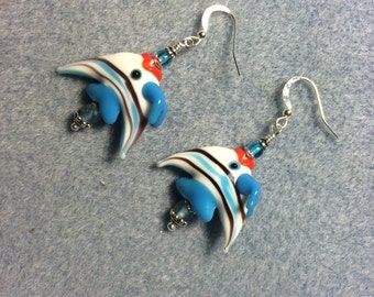 Turquoise and white striped lampwork angelfish bead earrings adorned with turquoise Czech glass beads.