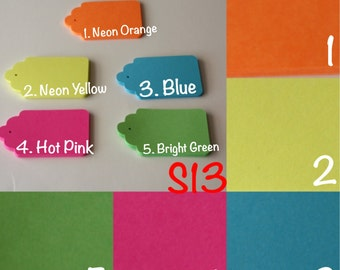Die Cut Assorted Colored Tags S13 Set of 25)