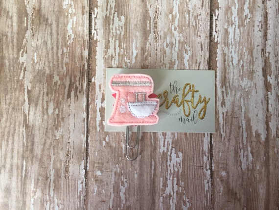Pink or Teal Retro Type Mixer Paper clip/planner clip/planner supplies. Your choice of color