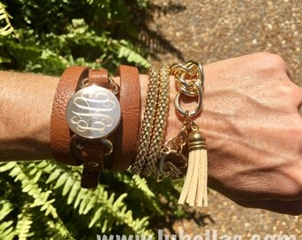 Monogrammed Leather Wrap Bracelet-Fast Shipping