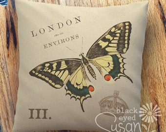 """Butterfly Pillow Cover   100% Cotton Canvas   12"""" x 12"""", 16"""" x 16"""", 20"""" x 20""""   London and its Environs"""