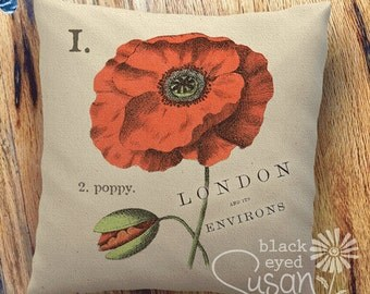 "Poppy Botanical Pillow Cover | 100% Cotton Canvas | 12"" x 12"", 16"" x 16"", 20"" x 20"" 