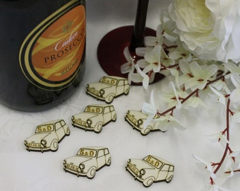 CLASSIC MINI COOPER personalised Wedding or Birthday Table Confetti Scatter favours