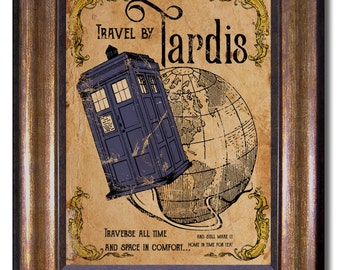 Doctor Who - Tardis Vintage Style Poster - Multiple Sizes - 11x14, 8x10, 5x7, 4x6 (inches)
