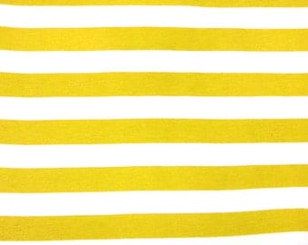 "Knit Golden Yellow 1"" Stripes Fabric 1 yard"