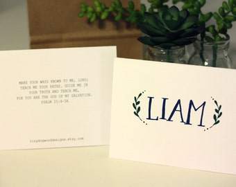 "Printed Folded 5.5"" x 4.25"" Name w/ Laurels & Verse Note Cards (10 note cards w/ envelopes)"