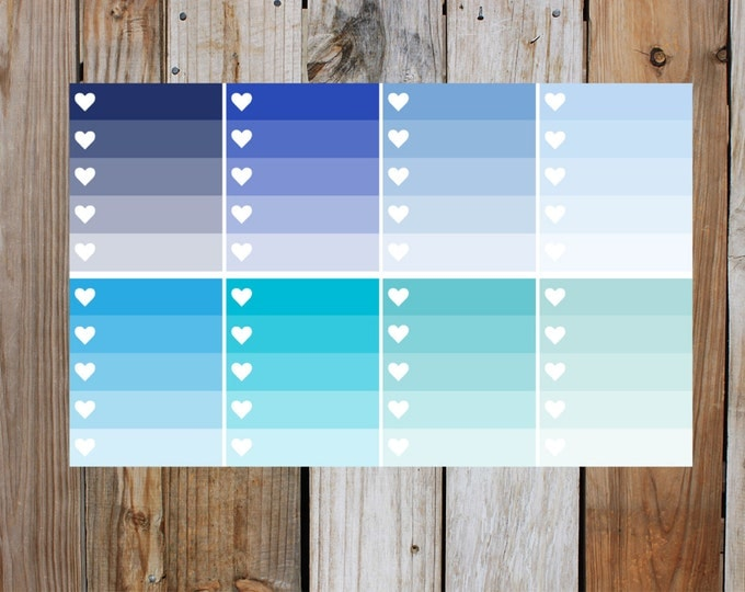Blue Heart Check Box Planner Stickers in Glossy - Shades Of Blue | for use with ERIN CONDREN Life Planner