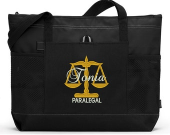 Personalized Paralegal Embroidered Zippered Tote Bag With Mesh Pockets, Beach Bag, Boating