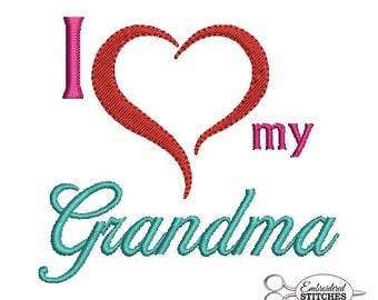 Instant Download Embroidery Design I Love My Grandma Machine Embroidered Design for 4x4 Hoop Size