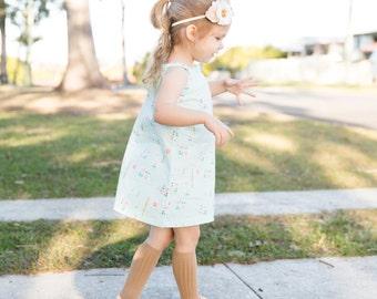 Spring and Summer Girls Dress/Mint, Rose and Gold Girls Tie Dress/ Lightweight Girls Clothing/ Summer Girls Clothing/ Easter Dress