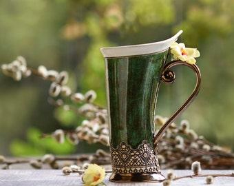 Ceramic Mug, Tea Mug, Handbuild Mug, Ceramics and pottery, Ceramic cup, Tea cup, Coffee cup, Coffee mug, Handmade mug, Unique mug, Green mug