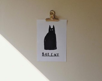 Bat Cat A5 Art Print
