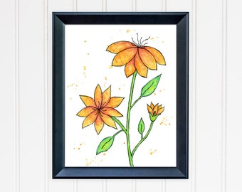 Orange Daisy Art Print. Daisy Wall Art. Watercolor Flower. 8x10 Art Print. Mother's Day Gift. Nursery Wall Art. Gift for Mom. Gift for Her.