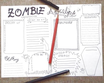 zombie apocalypse journal party halloween journaling survival zombies invasion list checklist planner printable download lasoffittadiste