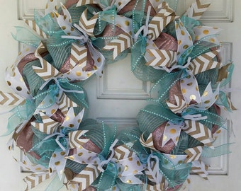 Beautiful Turquoise/Burlap Mesh and Sparkling Pink Ribbon Wreath