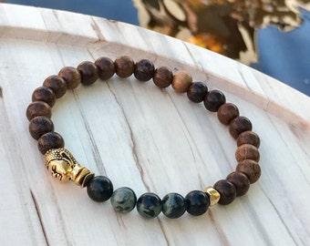Buddha Bracelet  Kambaba jasper bracelet  Yoga bracelet Meditation bracelet beaded bracelet  Gift for him   (#41)