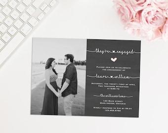 Printable Photo Engagement Party Invitation, Rustic Engagement Party Invite, Theyre Engaged! Engagement Announcement