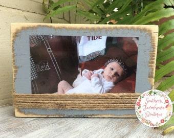 Set of Ten 4x6 Frames, Distressed Frame, Wood Block Frame, Rustic Frame, Horizontal Photo, Twine