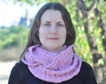 Pink infinity scarf Womens knitted long snood Knit vegan loop geometric scarf