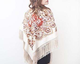 Sandy Shawl, Summer Party, Bohemian Floral Scarf Beautiful Ukrainian shawl, Long Scarf Fashion Scarf Bride Scarf Boho Shawl Bridesmaid Shawl