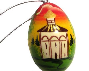 Painted egg with rope Country Sites gift - kod38p