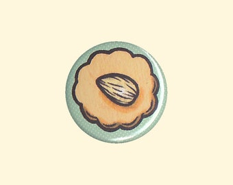 Almond Cookie Badge - cookie pin, cookie button, cookie pin, kawaii pin, cute cookie, kawaii badge, kawaii button, almond cookie