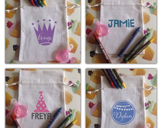 Personalised party pouches, wording of your choice & any colour font...Sweets, Favours, childrens party