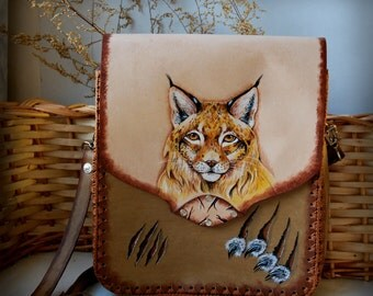 Leather painted shoulder bag The Lynx