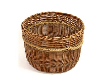 Golden Strong Large Wicker Log Basket with Thick Rope Handles - Ideal by the Fireplace for Log Storage!